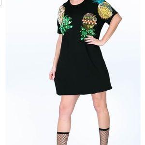 Pineapple Detail T Shirt Dress